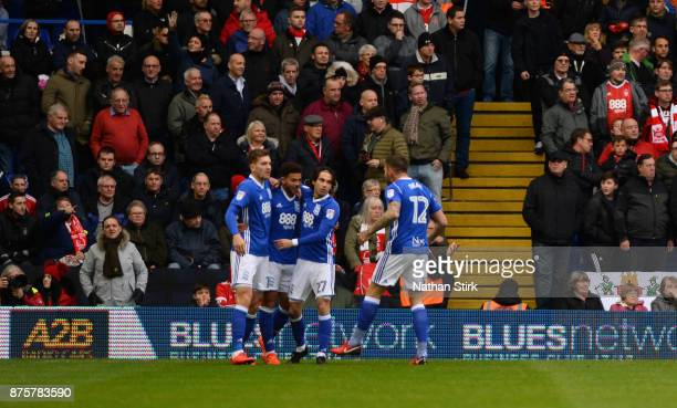 Che Adams of Birmingham City celebrates after scoring during the Sky Bet Championship match between Birmingham City and Nottingham Forest at St...
