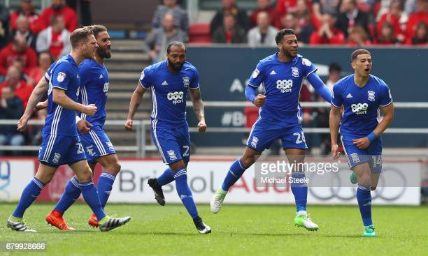 Che Adams of Birmingham City celebrates scoring his sides first goal with his Birmingham team mates during the Sky Bet Championship match between...