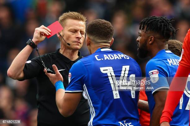 Che Adams of Birmingham City gets a red card during the Sky Bet Championship match between Birmingham City and Huddersfield Town at St Andrews on...