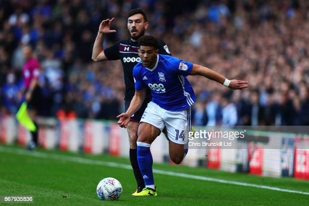 Che Adams of Birmingham City in action with Robert Snodgrass of Aston Villa during the Sky Bet Championship match between Birmingham City and Aston...