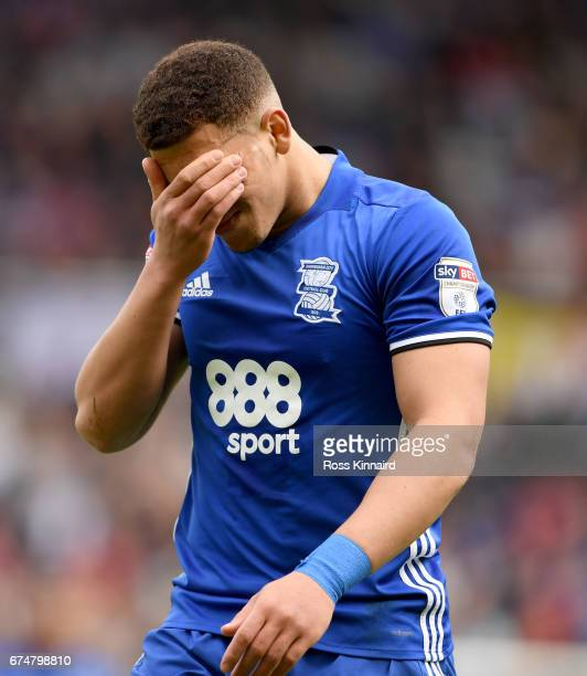 Che Adams of Birmingham City is sent off during the Sky Bet Championship match between Birmingham City and Huddersfield Town at St Andrews on April...