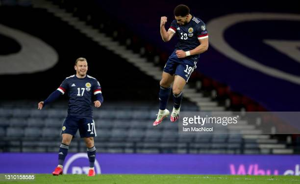Che Adams of Scotland celebrates after scoring their team's third goal during the FIFA World Cup 2022 Qatar qualifying match between Scotland and...