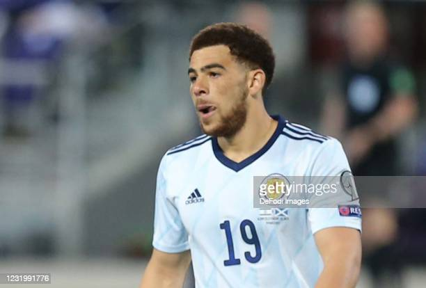 Che Adams of Scotland looks on during the FIFA World Cup 2022 Qatar qualifying match between Israel and Scotland on March 28, 2021 in Tel Aviv,...