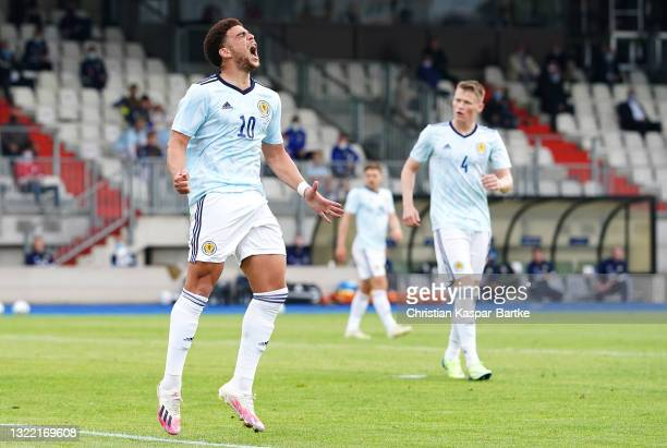 Che Adams of Scotland reacts during the international friendly match between Luxembourg and Scotland at Stade Josy Barthel on June 06, 2021 in...