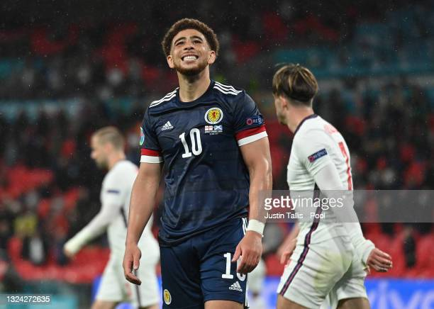 Che Adams of Scotland reacts during the UEFA Euro 2020 Championship Group D match between England and Scotland at Wembley Stadium on June 18, 2021 in...