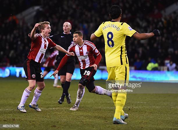 Che Adams of Sheffield United celebrates scoring his second goal during the Capital One Cup SemiFinal Second Leg match between Sheffield United and...