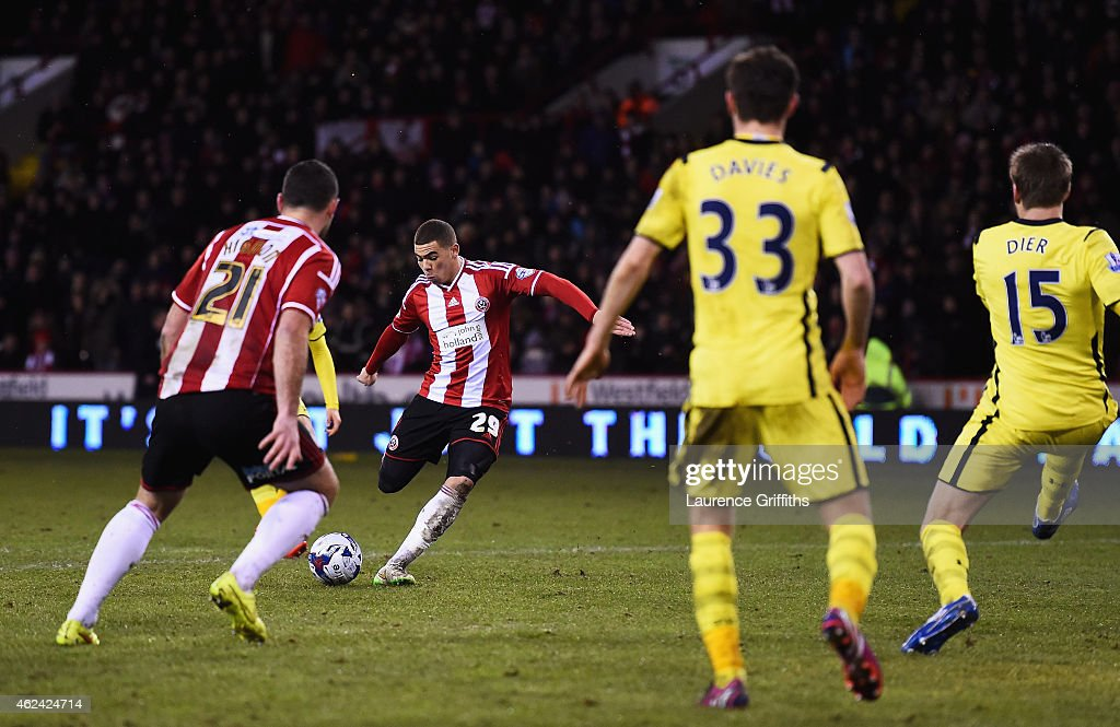 Che Adams of Sheffield United scores his second goal during the Capital One Cup Semi-Final Second Leg match between Sheffield United and Tottenham Hotspur at Bramall Lane on January 28, 2015 in Sheffield, England.