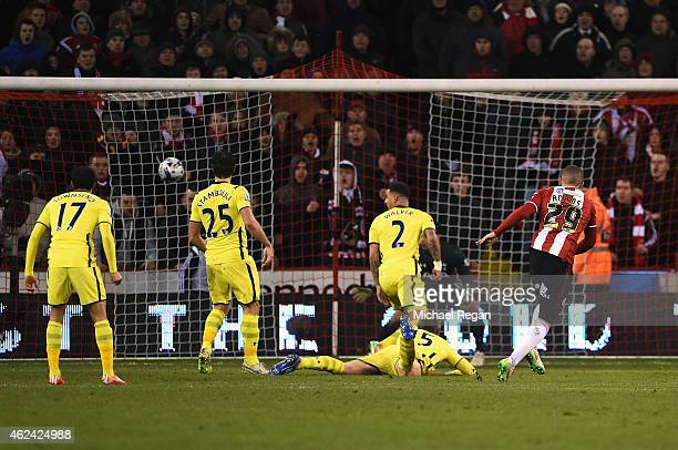 Che Adams of Sheffield United scores his second goal during the Capital One Cup SemiFinal Second Leg match between Sheffield United and Tottenham...