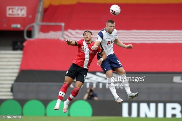 Che Adams of Southampton and Eric Dier of Tottenham Hotspur during the Premier League match between Southampton and Tottenham Hotspur at St Mary's...