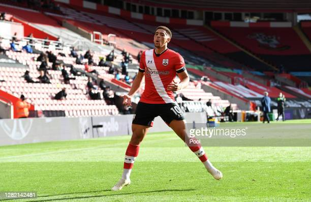 Che Adams of Southampton celebrates after scoring his sides second goal during the Premier League match between Southampton and Everton at St Mary's...
