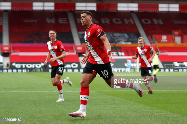 Che Adams of Southampton celebrates after scoring his team's second goal during the Premier League match between Southampton FC and Sheffield United...