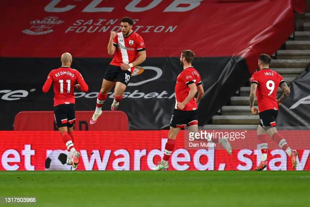 Che Adams of Southampton celebrates after scoring their side's second goal during the Premier League match between Southampton and Crystal Palace at...
