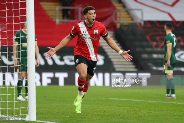 Che Adams of Southampton celebrates after scoring their team's first goal during the Premier League match between Southampton and Sheffield United at...