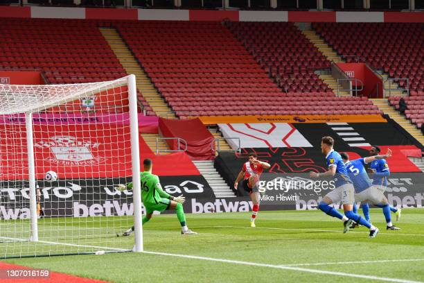Che Adams of Southampton equalises during the Premier League match between Southampton and Brighton & Hove Albion at St Mary's Stadium on March 14,...
