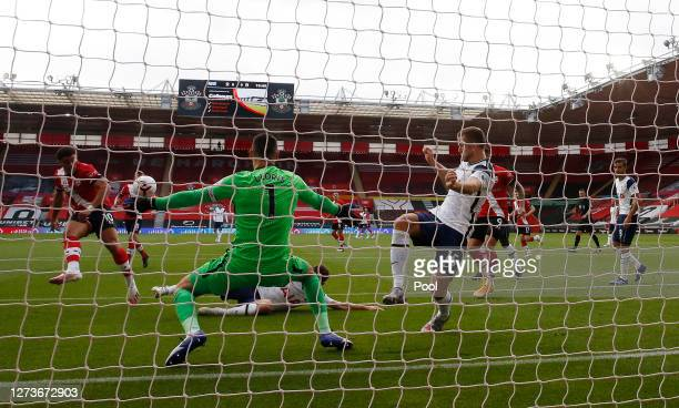 Che Adams of Southampton has a shot blocked during the Premier League match between Southampton and Tottenham Hotspur at St Mary's Stadium on...
