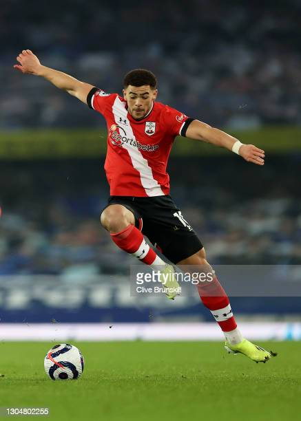 Che Adams of Southampton in action during the Premier League match between Everton and Southampton at Goodison Park on March 01, 2021 in Liverpool,...