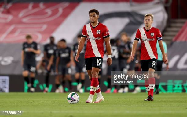 Che Adams of Southampton looks dejected after his team concede during the Carabao Cup Second Round match between Southampton FC and Brentford FC at...