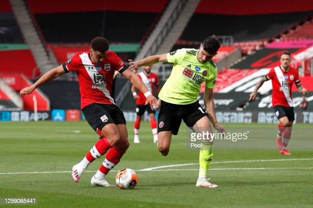 Che Adams of Southampton scores his team's first goal during the Premier League match between Southampton FC and Sheffield United at St Mary's...