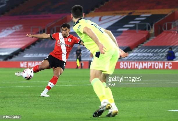 Che Adams of Southampton scores his team's first goal during the Premier League match between Southampton and Newcastle United at St Mary's Stadium...