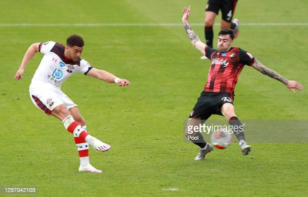 Che Adams of Southampton scores his team's second goal during the Premier League match between AFC Bournemouth and Southampton FC at Vitality Stadium...