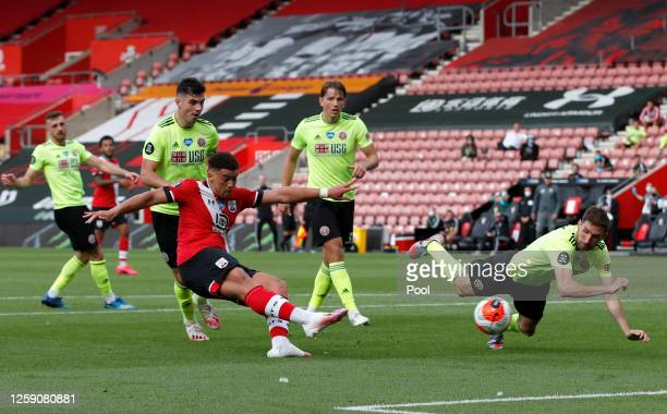 Che Adams of Southampton scores his team's second goal during the Premier League match between Southampton FC and Sheffield United at St Mary's...