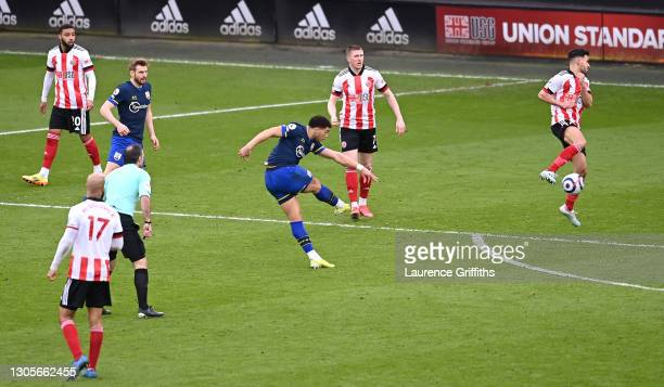 Che Adams of Southampton scores his team's second goal during the Premier League match between Sheffield United and Southampton at Bramall Lane on...