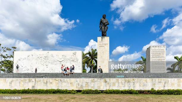 Che Guevara memorial or monument during the daytime The place is also known as the Che Guevara Revolution Square Wide angle frontal view