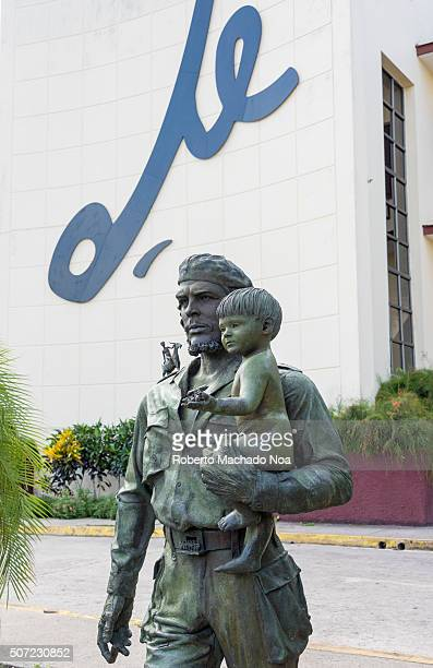 Che Guevara statue outside the Communist Party Headquarters Che Guevara is seen in military uniform holding an infant in his arm The monument was...