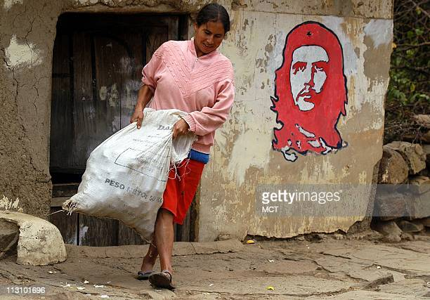 Che Guevara's mug appears on shop walls and in market stalls in remote La Higuera Bolivia where he died