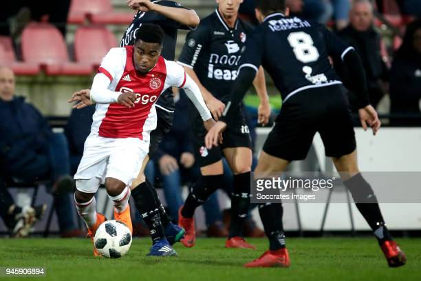 Che Nunnely of Ajax U23 Hilal Ben Moussa of FC Emmen during the Dutch Jupiler League match between Ajax U23 v FC Emmen at the De Toekomst on April 13...