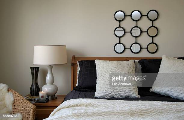 cheap and chic bedroom - lori andrews stock pictures, royalty-free photos & images