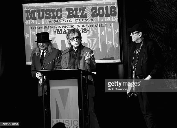 Cheap Trick's Robin Zander Tom Petersson and Rick Nielsen receive the Chairman's Award for Sustained Creative Achievement during Music Biz 2016 Day 4...
