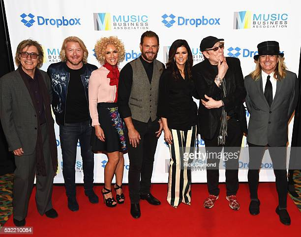 Cheap Trick's Tom Petersson Little Big Town's Phillip Sweet Kimberly Schlapman Jimi Westbrook and Karen Fairchild with Cheap Trick's Rick Nielsen and...