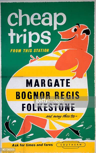 Cheap Trips from this Station to Margate, Bognor Regis and Folkestone'; poster produced for British railways to promote their cheap fares to coastal...