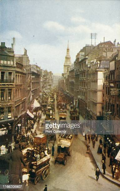 Cheapside London circa 1910 Looking east with the spire of St MaryleBow in the distance In the foreground is a statue of Sir Robert Peel at the...