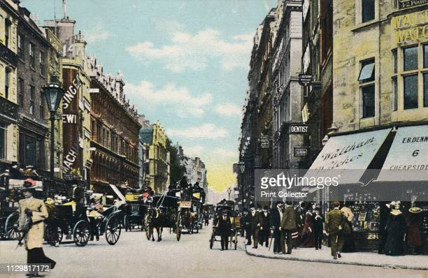 Cheapside. St. Paul's End. London', 1906. View of Cheapside in the City of London. On the left is a shop selling Singer sewing machines, and on the...