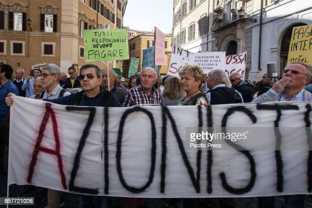 Cheated savers protest against the Save Banks Decree in front of the Italian Parliament on October 4 2017 in Rome Italy