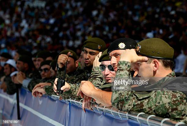 Chechen police watch during the Russian Cup Final match between FC Anji Makhachkala and PFC CSKA Moscow at the AkhmatArena Stadium on June 01 2013 in...