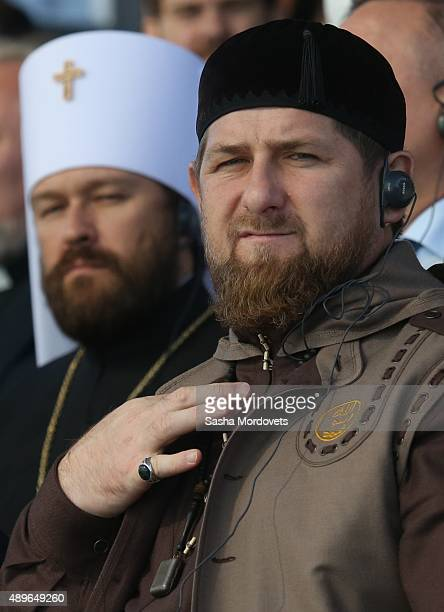 Chechen President Ramzan Kadyrov and Russian Orthodox Bishop Hilarion attend an opening ceremony for the newly restored Moscow Cathedral Mosque on...