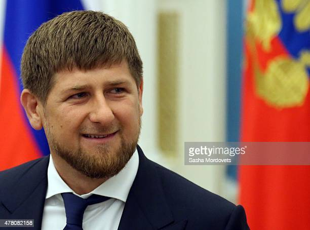 Chechen President Ramzan Kadyrov attends a ceremony to confer the 'City of Military Glory' title to five Russian towns at the Kremlin on June 22 2015...