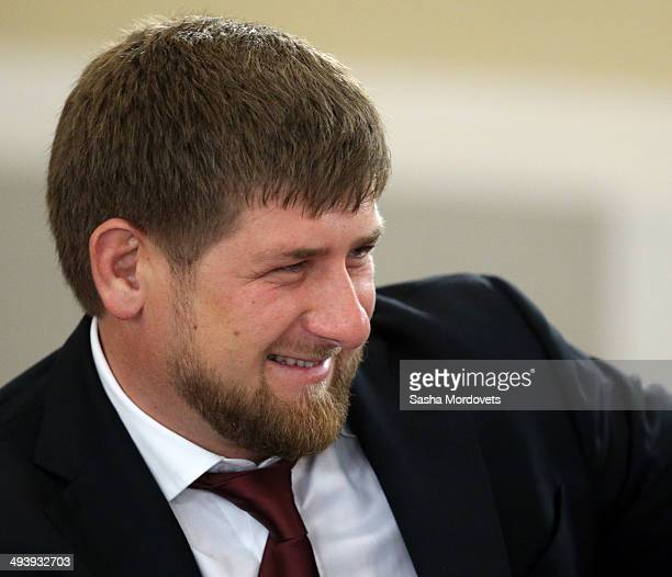 Chechen President Ramzan Kadyrov attends a meeting with governors and mayors on local government on May 26 2014 in Ivanovo Russia Putin is having a...