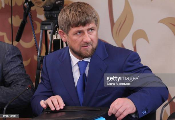 Chechen President Ramzan Kadyrov attends a meeting with local ministers governors and other officials from the North Caucasus region on August 03...