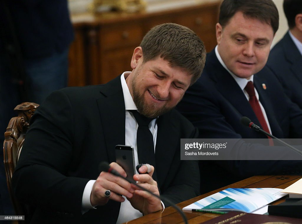 Chechen President Ramzan Kadyrov holds an Apple iphone during a meeting of State Council Presidium at the Novo Ogaryovo State Residence on February,24 2015 outside of Moscow, Russia. Putin recently said on Russian TV that a war with Ukraine would be apocalyptic scenario, but probably never happen.