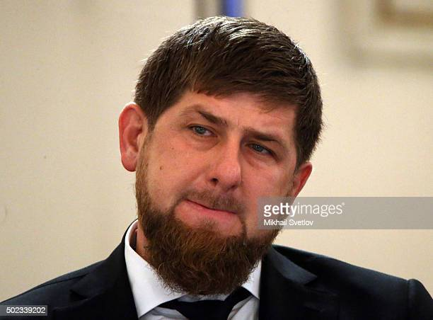 Chechen President Ramzan Kadyrov seen during the State Council meeting in Grand Kremlin Palace on December 23 2015 in Moscow Russia