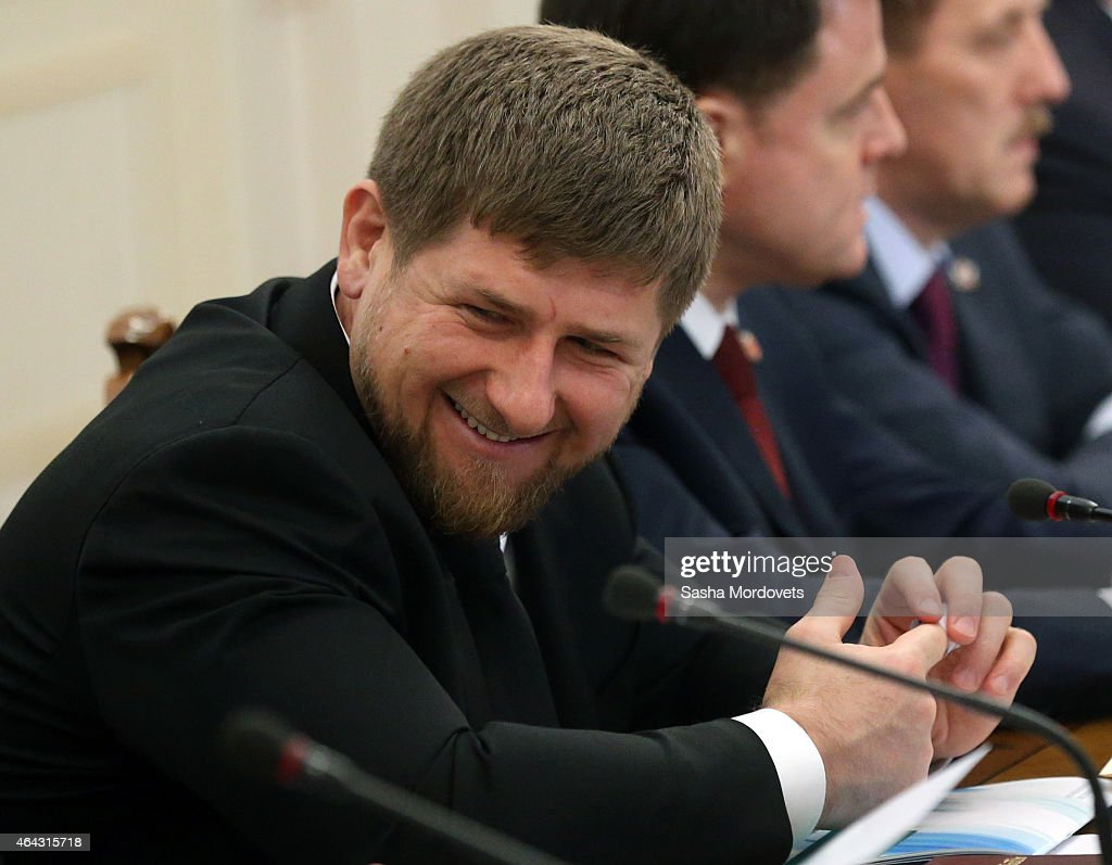 Chechen President Ramzan Kadyrov talks during a meeting of State Council Presidium at the Novo Ogaryovo State Residence on February,24 2015 outside of Moscow, Russia. Putin recently said on Russian TV that a war with Ukraine would be apocalyptic scenario, but probably never happen.