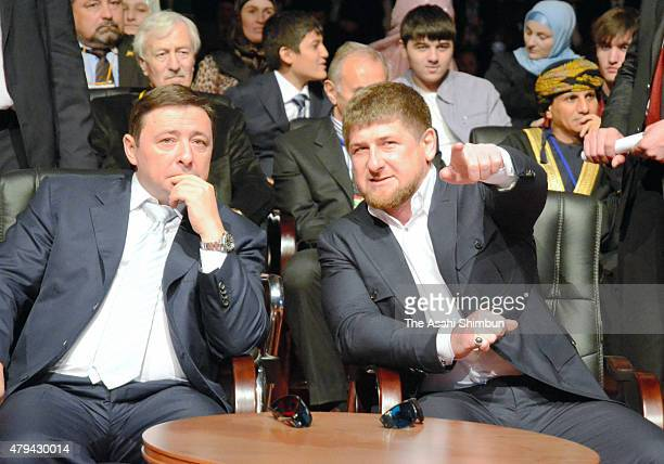 Chechen Republic President Ramzan Kadyrov attends the Grozny City commercial complex opening ceremony on October 5 2011 in Grozny Chechnya Russia
