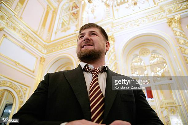 Chechnya's President Ramzan Kadyrov smiles prior to a State Council Session at the Kremlin on December 23 2009 in Moscow Russia The session was held...