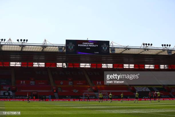 Check during the Premier League match between Southampton and Burnley at St Mary's Stadium on April 04, 2021 in Southampton, England. Sporting...