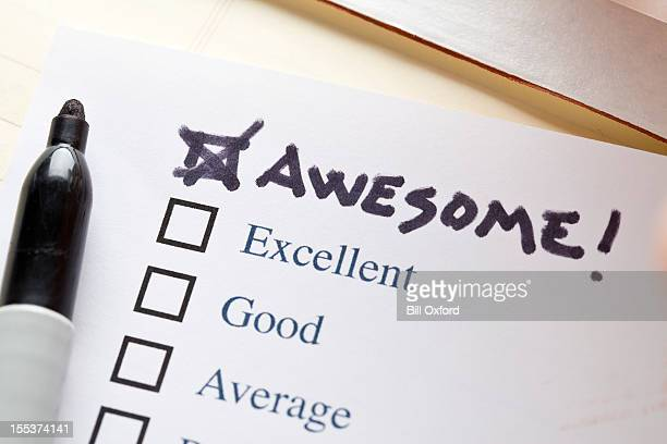 check list  awesome - questionnaire stock photos and pictures