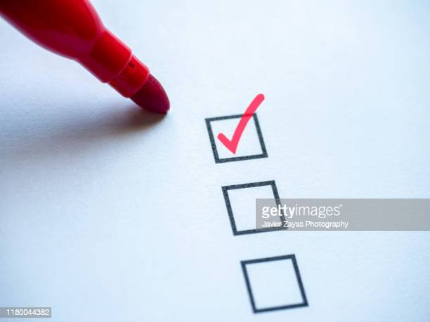 check mark in checklist box on white background - to do list stock pictures, royalty-free photos & images